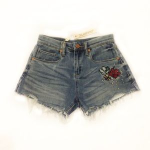 NWT BLANK NYC Pin up High Rise Embroidered Shorts